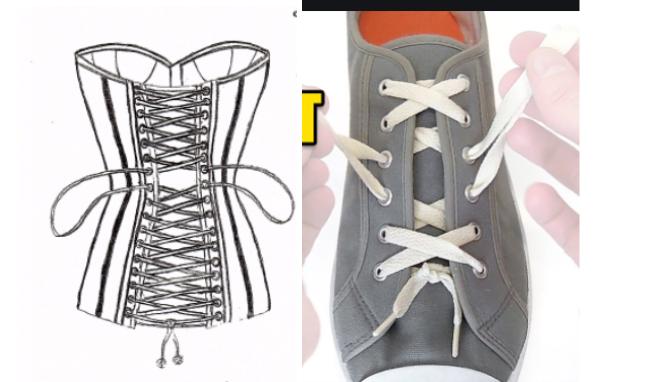 Cách thắt dây giày kiểu Corset