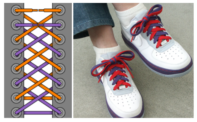 Thắt dây giày có nhiều màu khác nhau